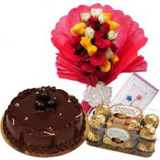 chocolate Cake + Fancy chocolates + flowers