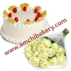Pineapple cake with white flowers bunch