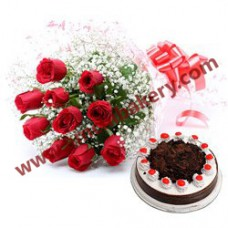 Choco cake with flowers bunch