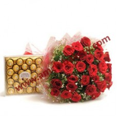 20 Fresh Roses with fancy chocolate box