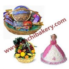 Doll cake + Fruit basket + Chocolate basket.