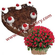 Flower basket with Blackforest Heart cake