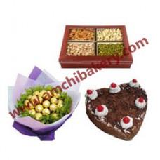 Flowers + Dry fruit + Cake