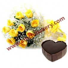 Heart shape chocolate cake with 10 yellow flowers