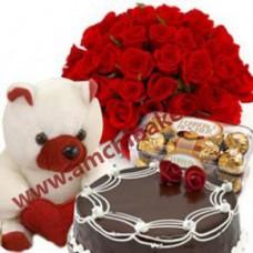 CAKE + TEDIBEAR + FLOWERS + CHOCOLATE BOX