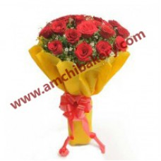 Red  Roses in yellow wrap