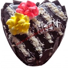 Choco heart with white choco flakes
