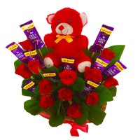 Chocolates+tedi bouquet
