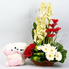 FLOWER BASKET WITH 2 TEDDIES