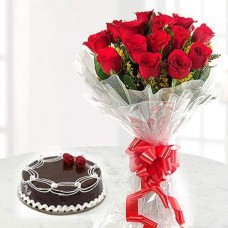1 KG CHOCOLATE CAKE + RED ROSES BOUQET